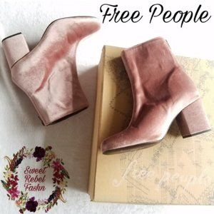 Free People pink Velvet Cecille boots size 8 EU 38